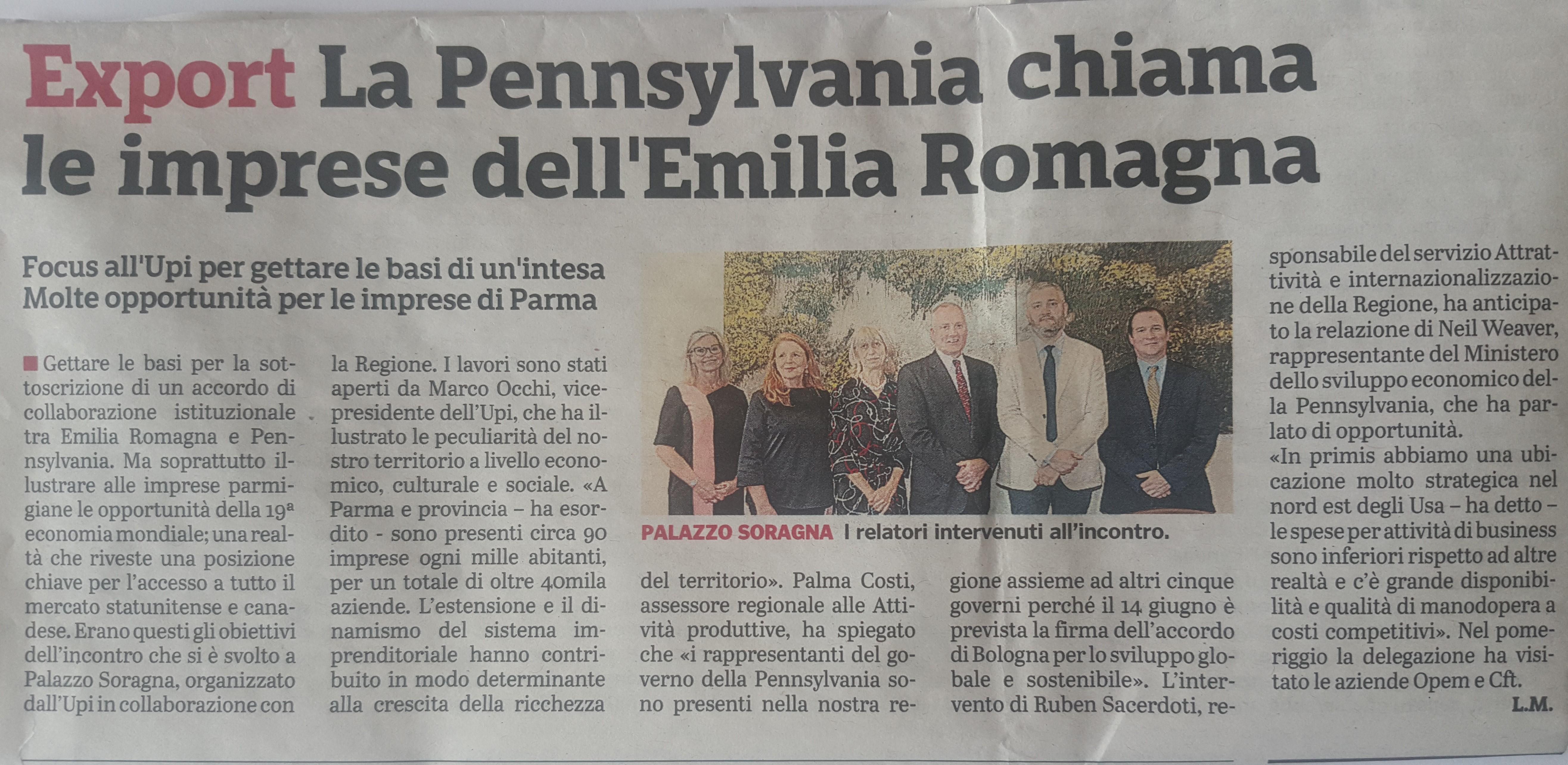 prodotto sfizioSalentino: La Pennsylvania chiama le imprese dell'Emilia Romagna